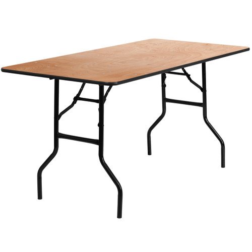 Flash Furniture | 30'' x 60'' Rectangular Wood Folding Banquet Table with Clear Coated Finished Top