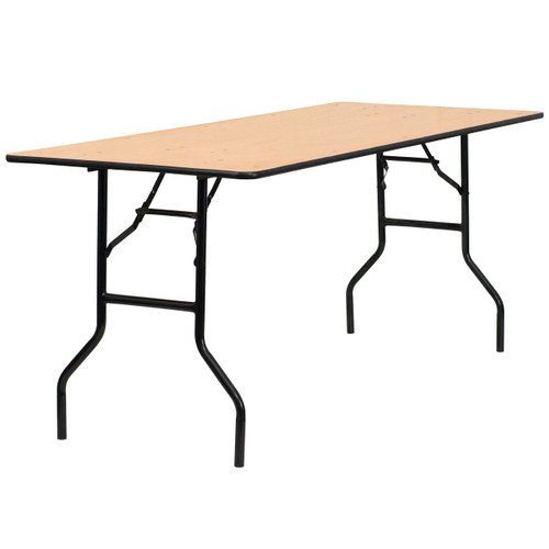 Flash Furniture | 30'' x 72'' Rectangular Wood Folding Banquet Table with Clear Coated Finished Top