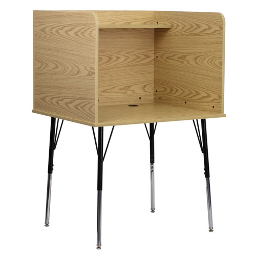 Flash Furniture | Study Carrel with Adjustable Legs and Top Shelf in Oak Finish