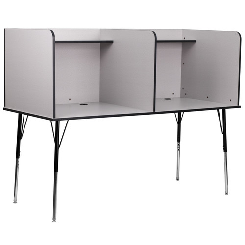 Flash Furniture | Double Wide Study Carrel with Adjustable Legs and Top Shelf in Nebula Grey Finish