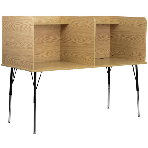 Flash Furniture | Double Wide Study Carrel with Adjustable Legs and Top Shelf in Oak Finish