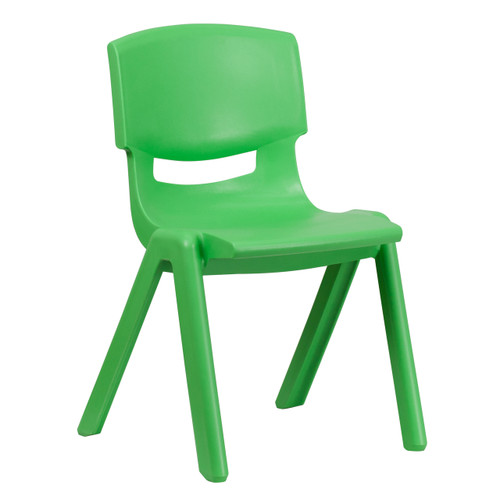 Flash Furniture | Green Plastic Stackable School Chair with 15.5'' Seat Height