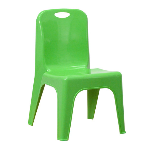 Flash Furniture | Green Plastic Stackable School Chair with Carrying Handle and 11'' Seat Height