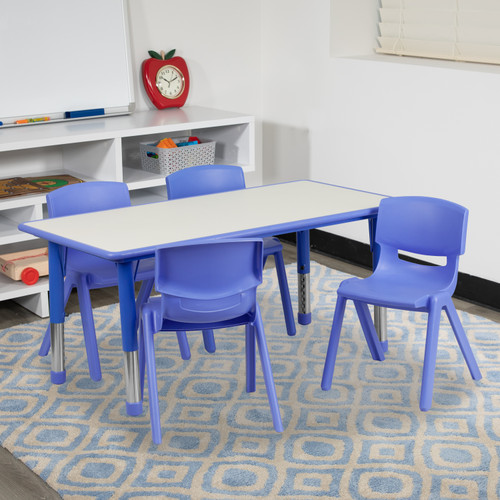 Flash Furniture | 23.625''W x 47.25''L Rectangular Blue Plastic Height Adjustable Activity Table Set with 4 Chairs