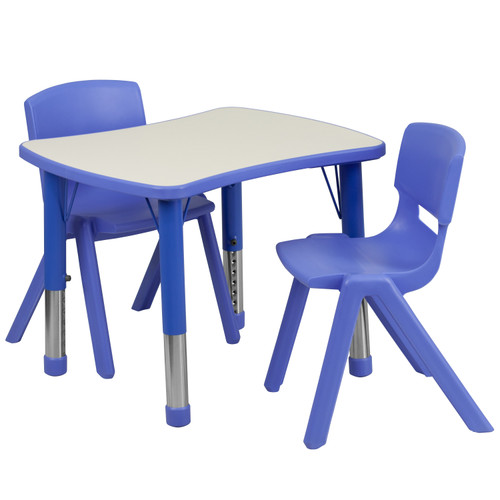 Flash Furniture | 21.875''W x 26.625''L Rectangular Blue Plastic Height Adjustable Activity Table Set with 2 Chairs