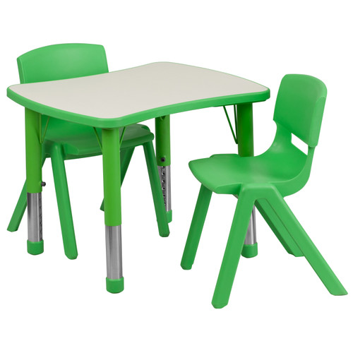 Flash Furniture | 21.875''W x 26.625''L Rectangular Green Plastic Height Adjustable Activity Table Set with 2 Chairs