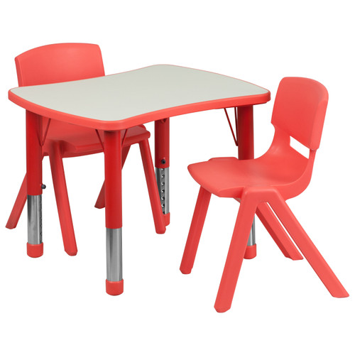 Flash Furniture | 21.875''W x 26.625''L Rectangular Red Plastic Height Adjustable Activity Table Set with 2 Chairs