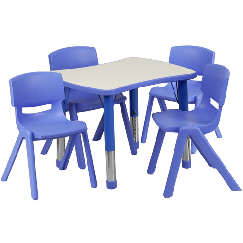 Flash Furniture | 21.875''W x 26.625''L Rectangular Blue Plastic Height Adjustable Activity Table Set with 4 Chairs