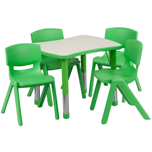 Flash Furniture | 21.875''W x 26.625''L Rectangular Green Plastic Height Adjustable Activity Table Set with 4 Chairs