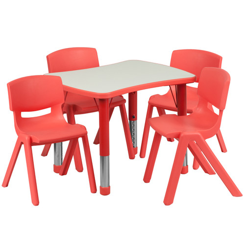 Flash Furniture | 21.875''W x 26.625''L Rectangular Red Plastic Height Adjustable Activity Table Set with 4 Chairs