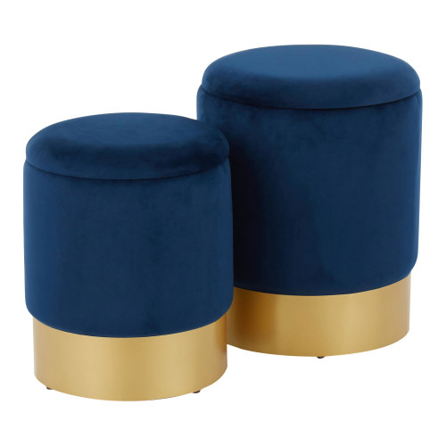 LumiSource | Marla Nesting Ottoman Set - Blue Velvet