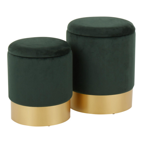 LumiSource | Marla Nesting Ottoman Set - Green Velvet