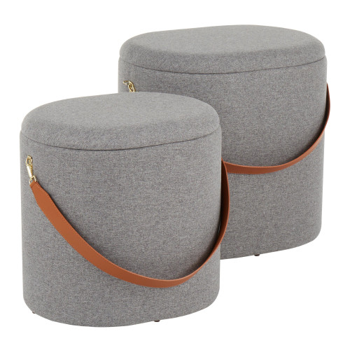 LumiSource | Nesting Oval Strap Ottoman - Grey Fabric