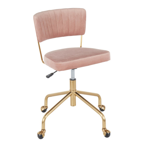 LumiSource | Tania Task Chair - Pink Velvet