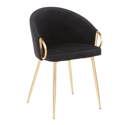 LumiSource | Claire Chair in Gold Metal and Black Velvet