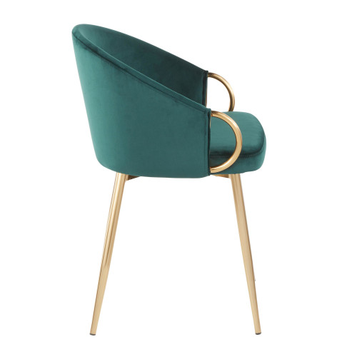 LumiSource   Claire Chair in Gold Metal and Emerald Green