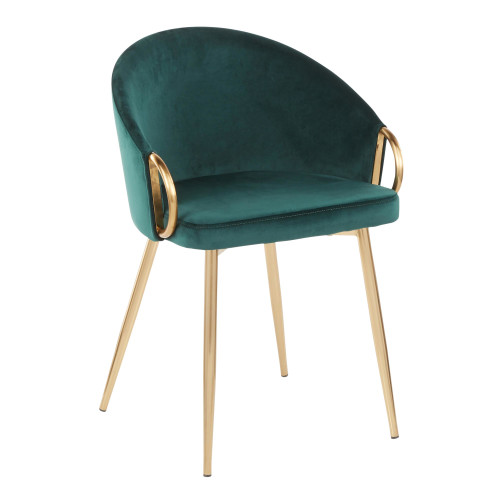 LumiSource | Claire Chair in Gold Metal and Emerald Green