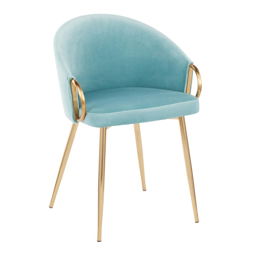 LumiSource | Claire Chair in Gold Metal and Light Blue Velvet