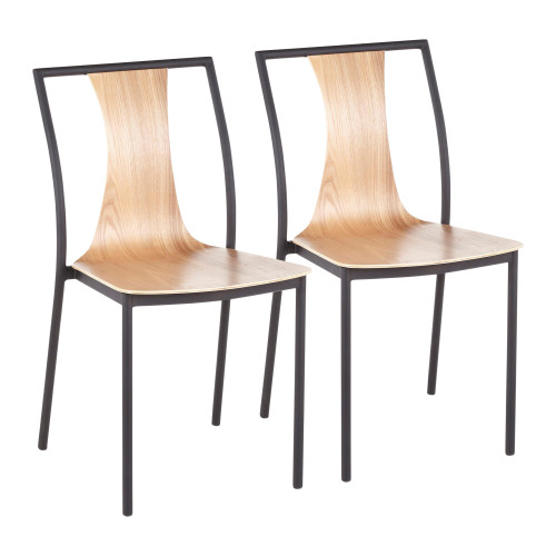 LumiSource   Osaka Chair in Black Metal and Natural Wood