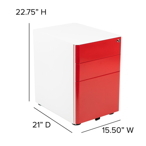 Flash Furniture | Modern 3-Drawer Mobile Locking Filing Cabinet with Anti-Tilt Mechanism & Letter/Legal Drawer, White with Red Faceplate