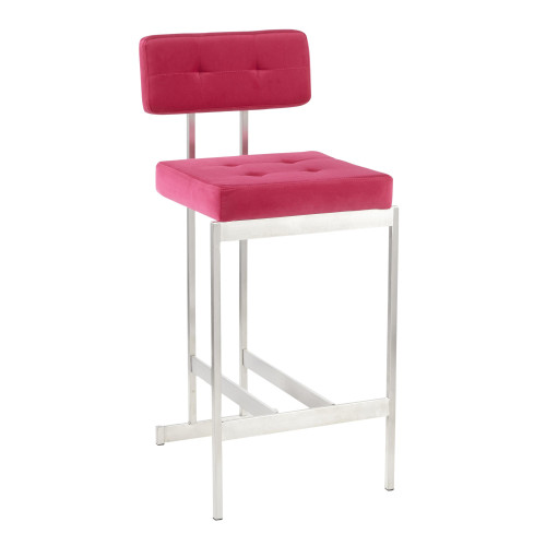 LumiSource | Milton Counter Stool in Pink Velvet
