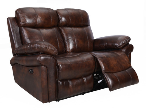Leather Italia USA | Joplin Power Loveseat (Brown)