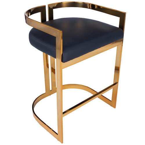 Butler Specialty Company   Clarence Gold & Black Faux Leather Counter Stool