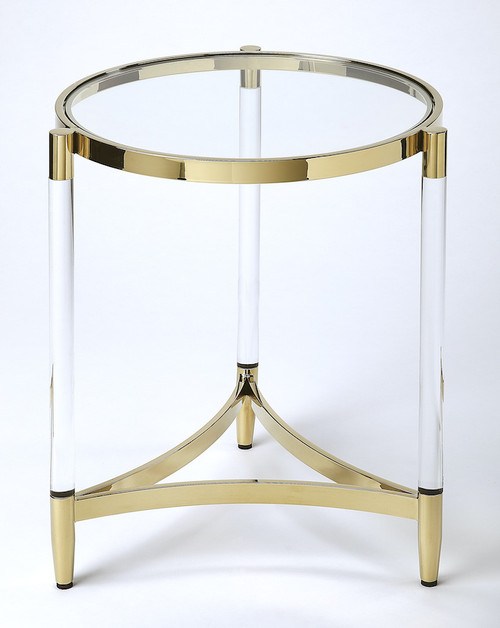 Butler Specialty Company | Charlene Acrylic & Gold Round End Table