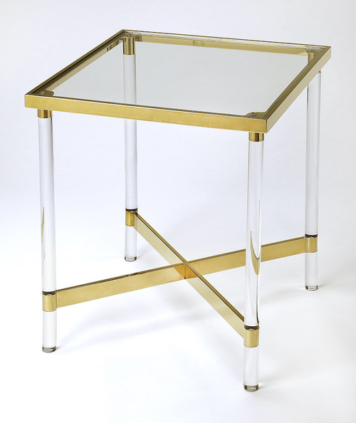 Butler Specialty Company | Charleise Acrylic & Gold Square End Table