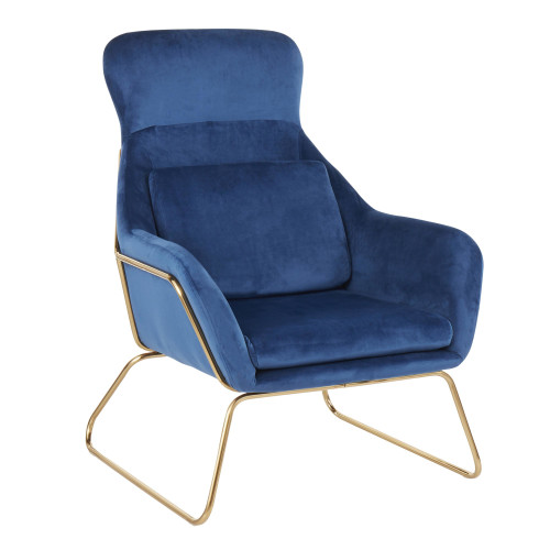 LumiSource   Penelope Lounge Chair (Gold/Blue)