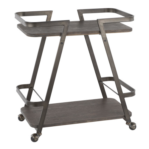LumiSource | Seven Bar Cart (Antique/Espresso)