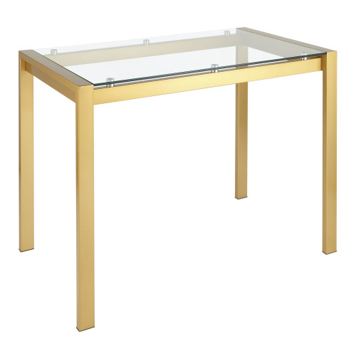 LumiSource | Fuji Contemporary Counter Table in Gold Metal and Clear Glass