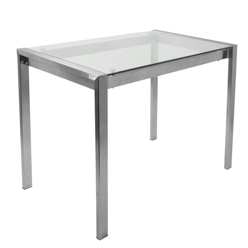 LumiSource | Fuji Contemporary Counter Table in Stainless Steel and Clear Glass