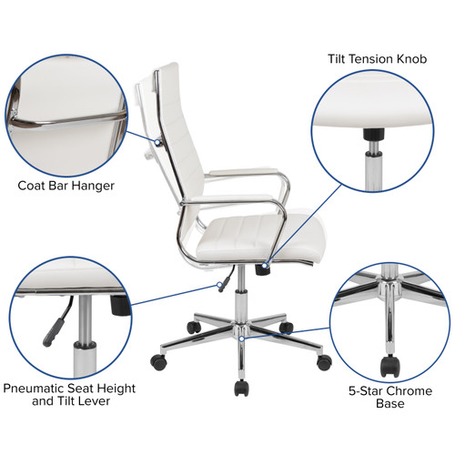Flash Furniture | High Back White LeatherSoft Contemporary Ribbed Executive Swivel Office Chair