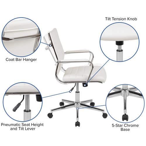 Flash Furniture   Mid-Back White LeatherSoft Contemporary Ribbed Executive Swivel Office Chair