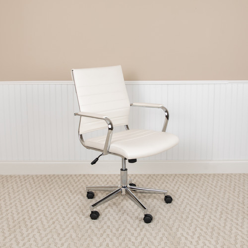Flash Furniture | Mid-Back White LeatherSoft Contemporary Ribbed Executive Swivel Office Chair
