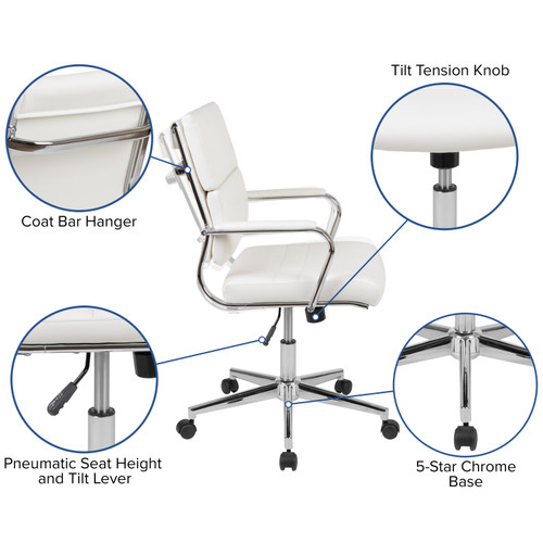 Flash Furniture | Mid-Back White LeatherSoft Contemporary Panel Executive Swivel Office Chair