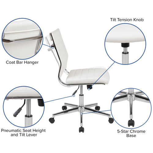 Flash Furniture | Mid-Back Armless White LeatherSoft Contemporary Ribbed Executive Swivel Office Chair
