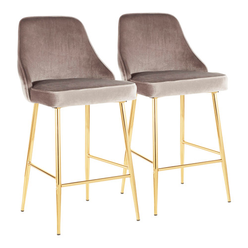 LumiSource | Marcel Counter Stool (Gold Metal) - Set of 2