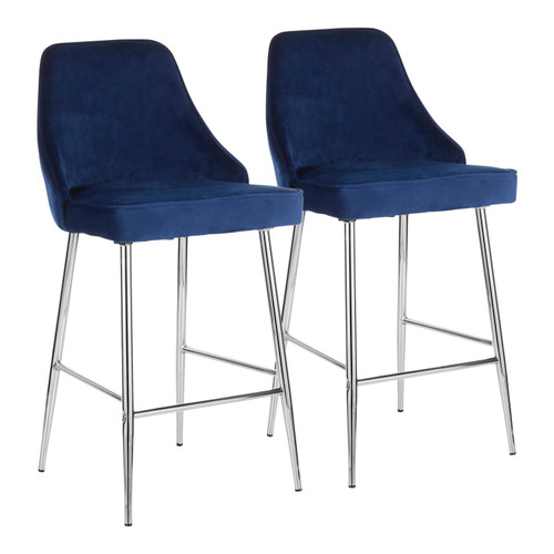 LumiSource | Marcel Counter Stool (Chrome) - Set of 2