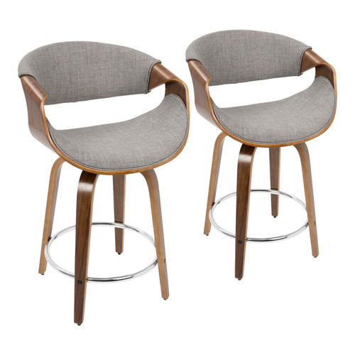 "LumiSource | Curvini 24"" Counter Stool - Set of 2"