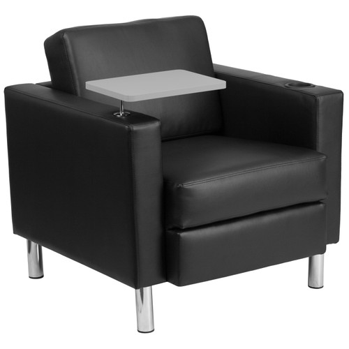 Flash Furniture | Black LeatherSoft Guest Chair with Tablet Arm, Tall Chrome Legs and Cup Holder