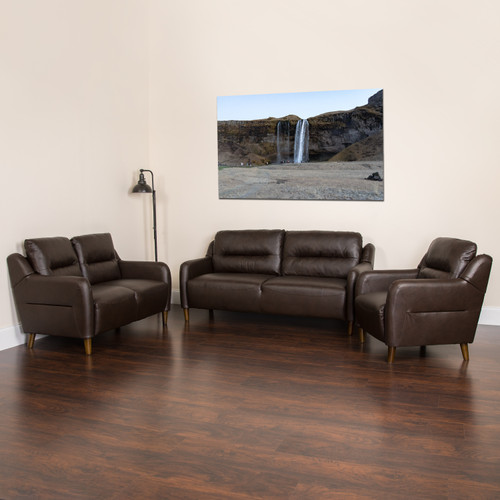 Flash Furniture | Newton Hill Upholstered Bustle Back Chair, Loveseat and Sofa Set in Brown LeatherSoft