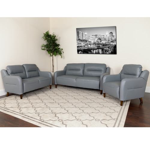 Flash Furniture | Newton Hill Upholstered Bustle Back Chair, Loveseat and Sofa Set in Gray LeatherSoft