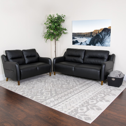 Flash Furniture | Newton Hill Upholstered Bustle Back Loveseat and Sofa Set in Black LeatherSoft