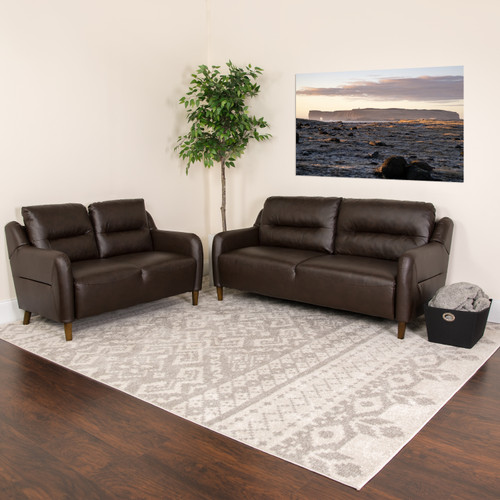 Flash Furniture | Newton Hill Upholstered Bustle Back Loveseat and Sofa Set in Brown LeatherSoft
