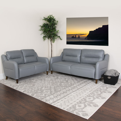 Flash Furniture | Newton Hill Upholstered Bustle Back Loveseat and Sofa Set in Gray LeatherSoft