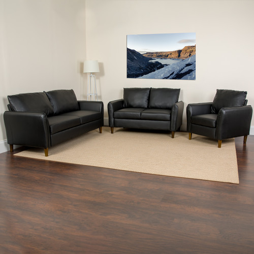 Flash Furniture | Milton Park Upholstered Plush Pillow Back Chair, Loveseat and Sofa Set in Black LeatherSoft