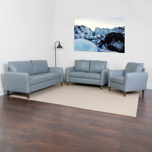 Flash Furniture | Milton Park Upholstered Plush Pillow Back Chair, Loveseat and Sofa Set in Gray LeatherSoft