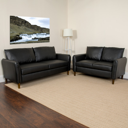 Flash Furniture | Milton Park Upholstered Plush Pillow Back Loveseat and Sofa Set in Black LeatherSoft